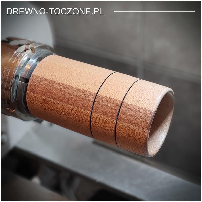 Toczone wyroby kubki drewniane meranti